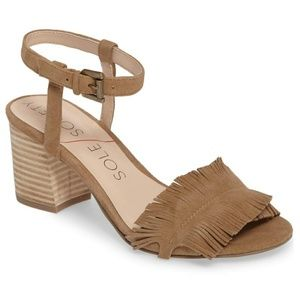 Sole society sepia coffee suede feather fringe